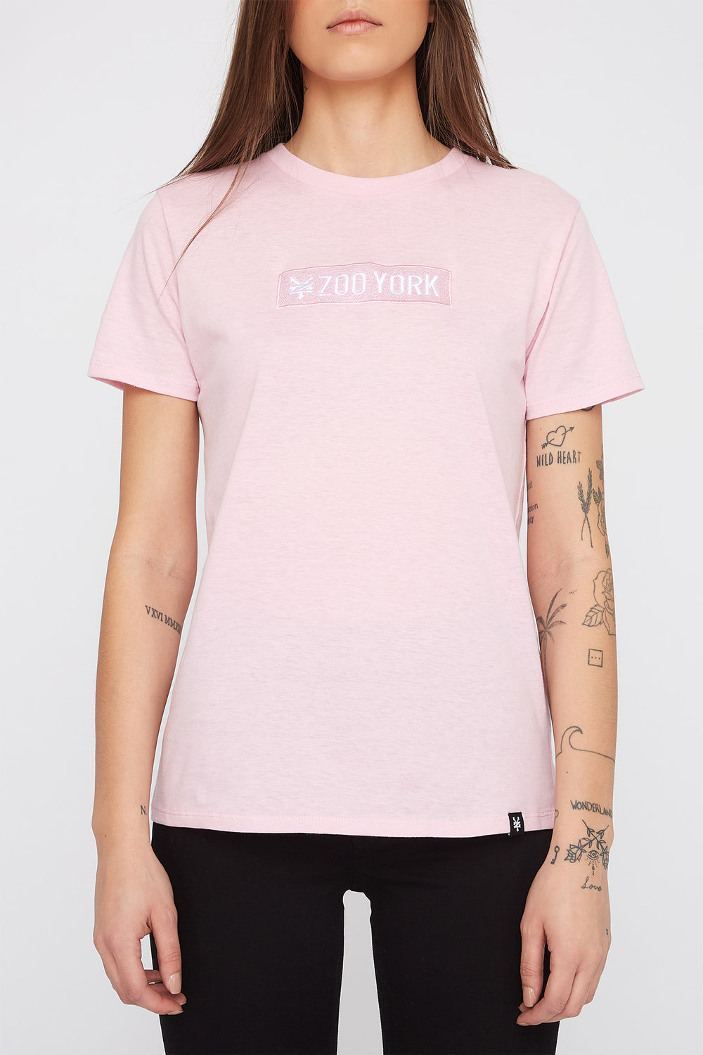 Zoo York Womens Pastel Box Logo T-Shirt Light Pink