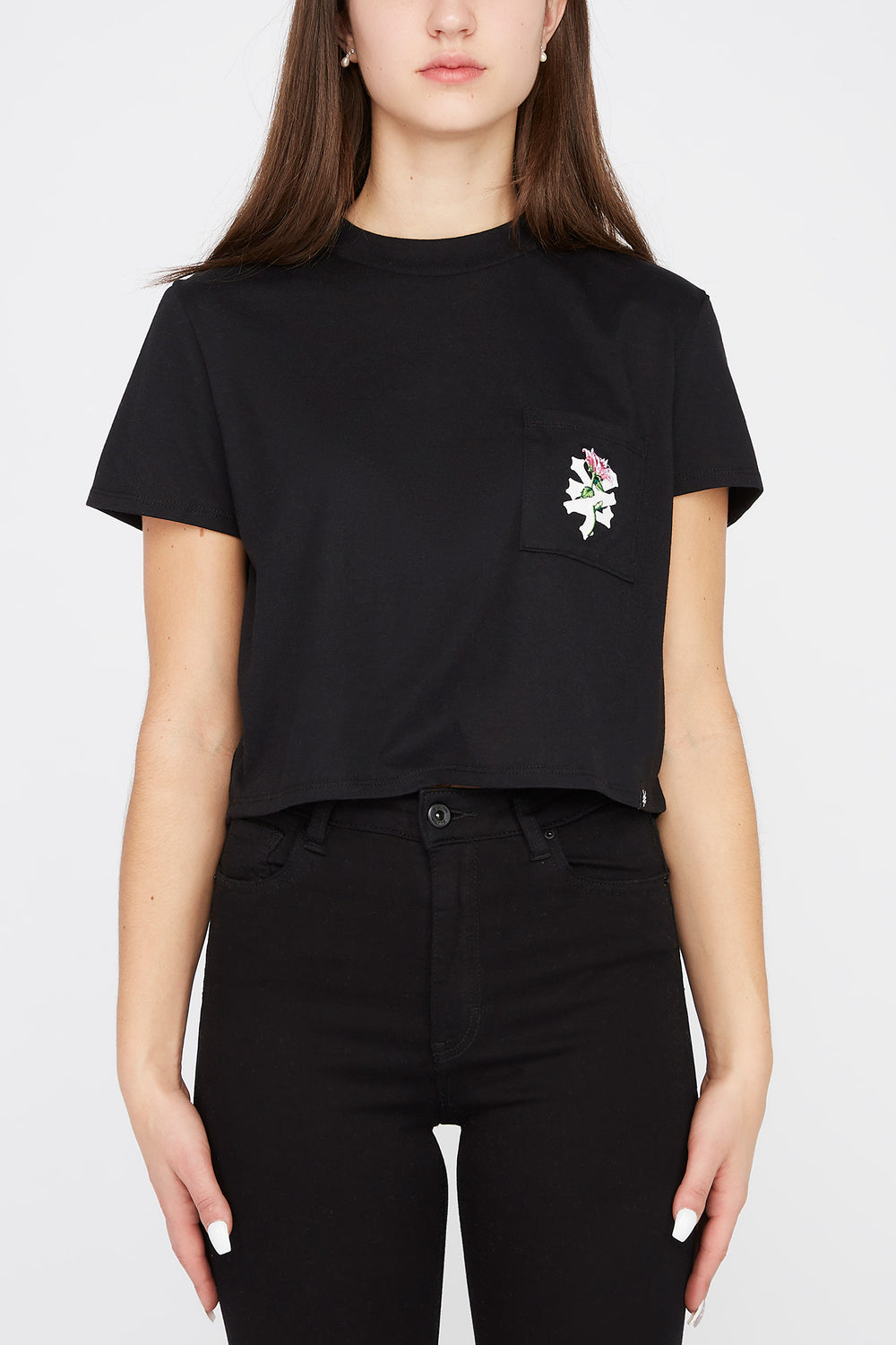 Zoo York Womens Rose Logo Pocket Cropped T-Shirt Black