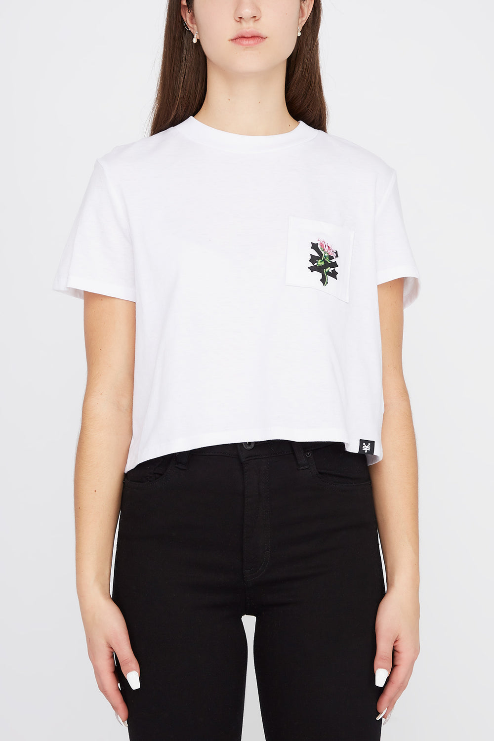 Zoo York Womens Rose Logo Pocket Cropped T-Shirt White