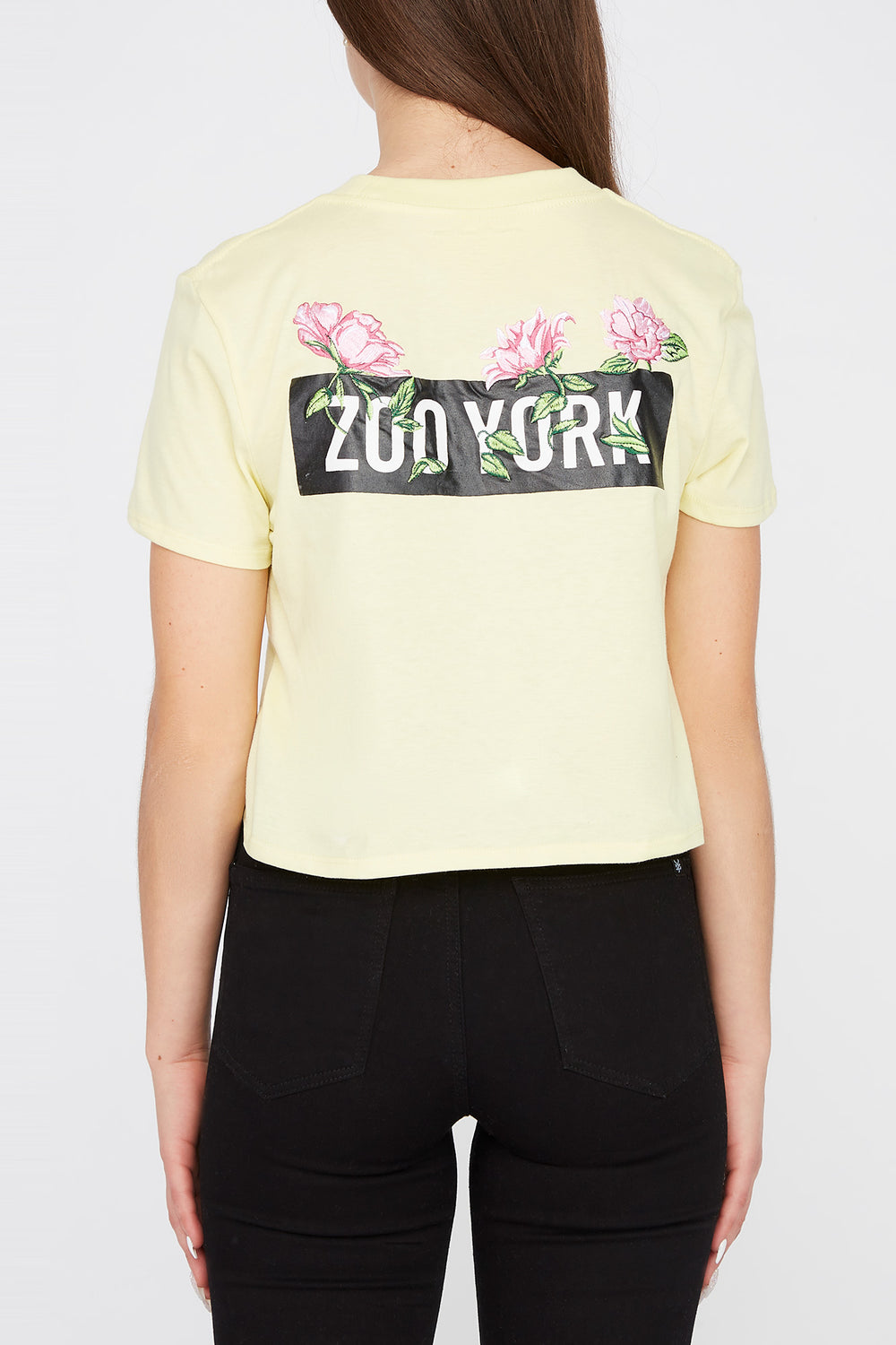 Zoo York Womens Rose Logo Pocket Cropped T-Shirt Pale Yellow
