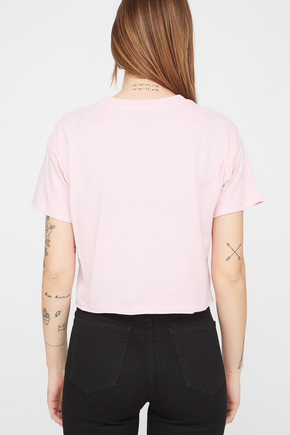 Zoo York Womens Unbreakable Chenille Cropped T-Shirt Light Pink