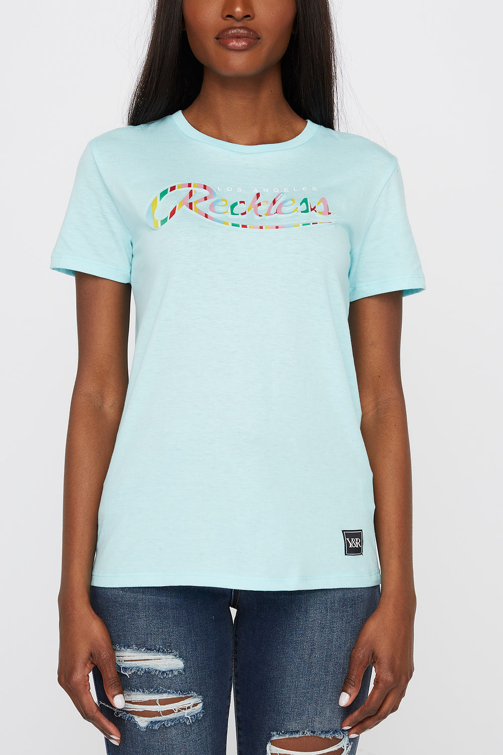 Young & Reckless Womens Textured Logo T-Shirt Turquoise