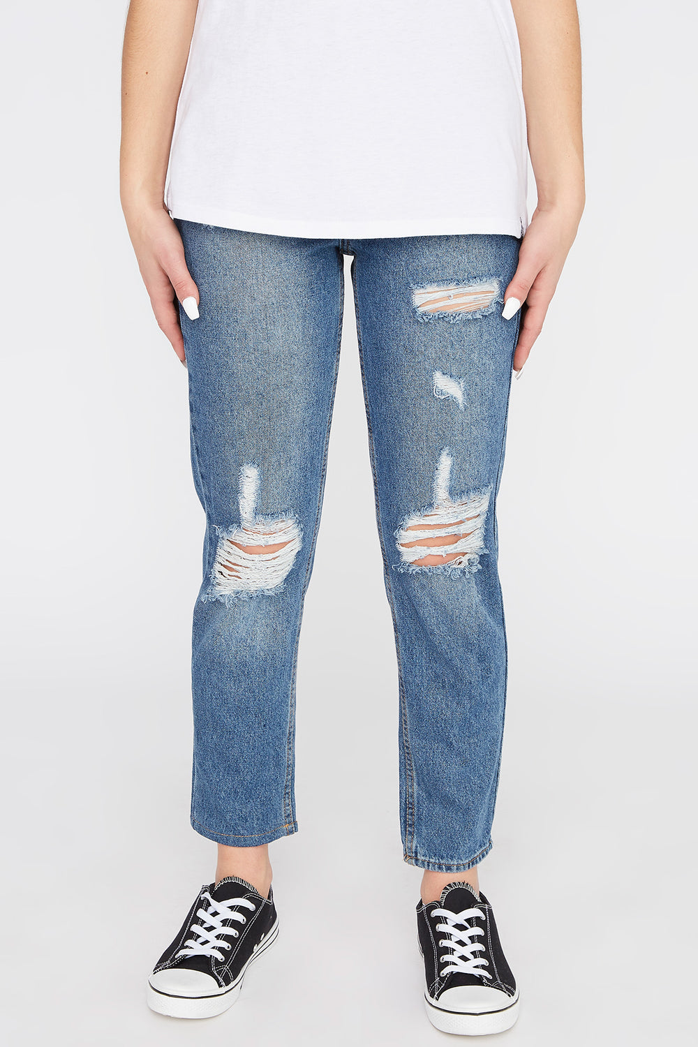 Zoo York Womens Distressed Mom Jeans Denim Blue
