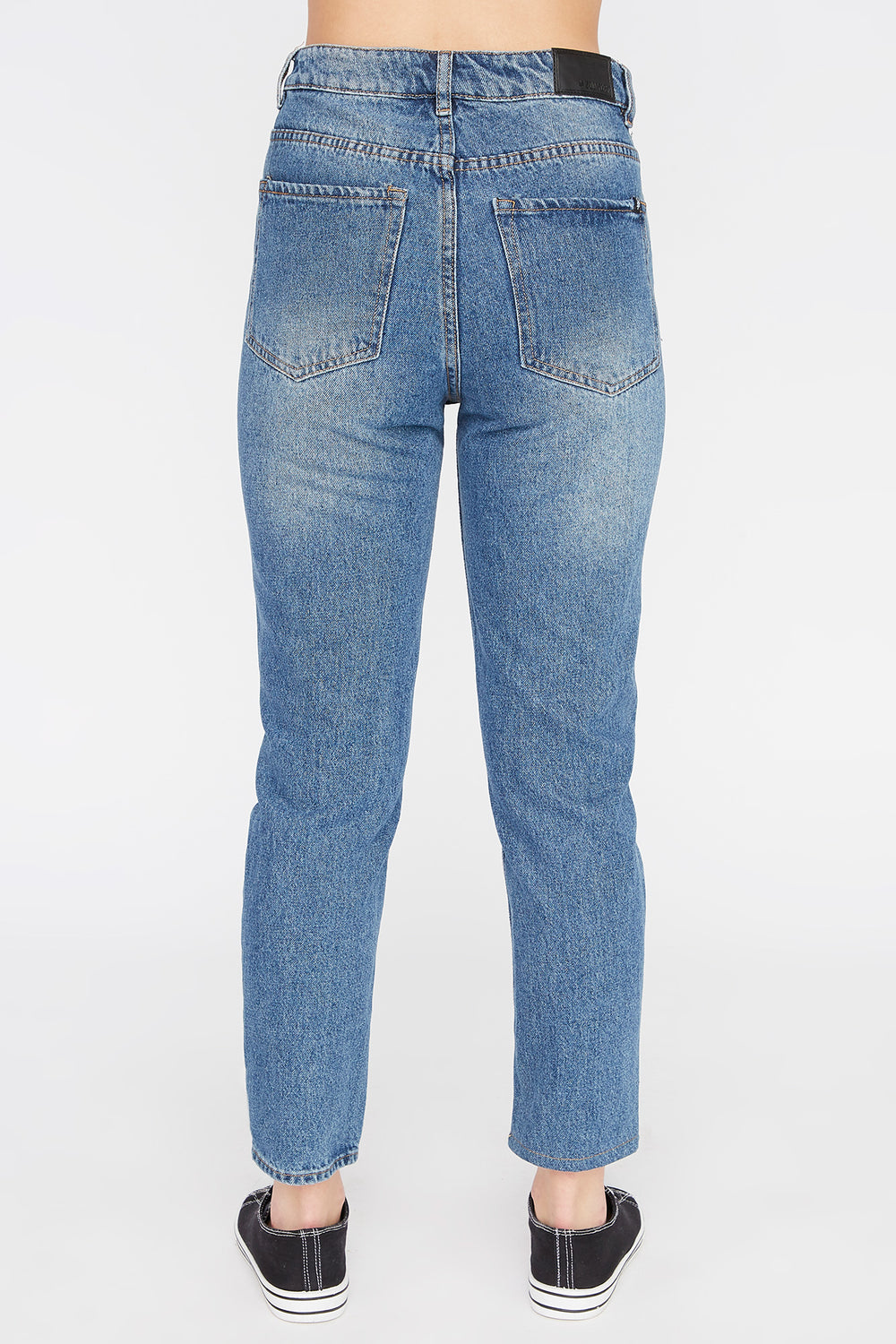 Jean D'Aspect Usé Style Mom Zoo York Femme Bleu denim