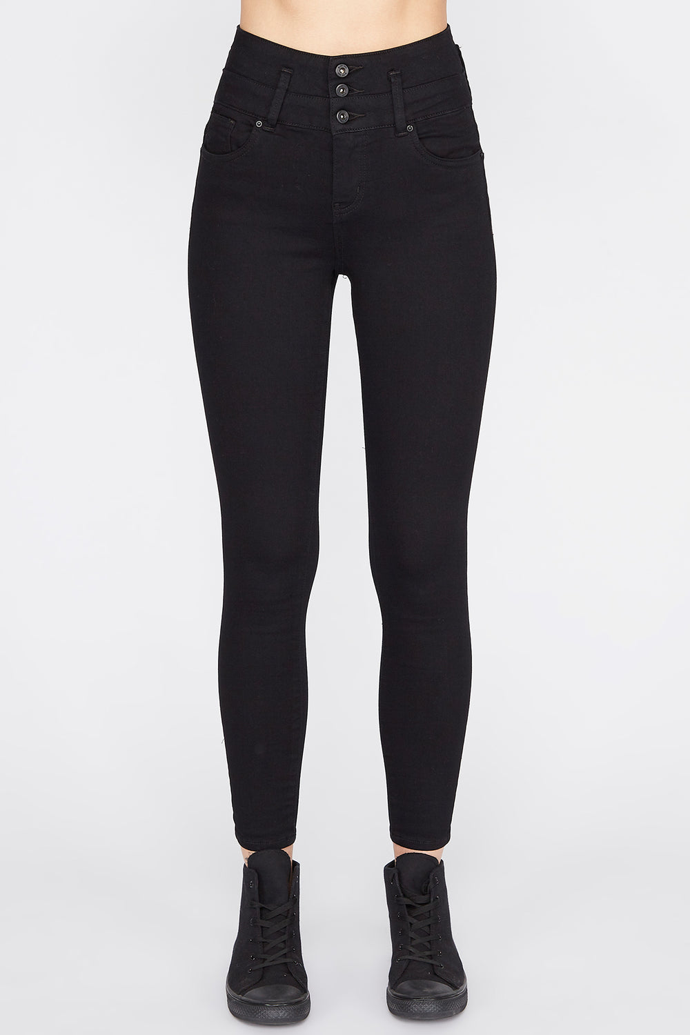 Zoo York Womens Black 3-Tier Curvy Jeans Black
