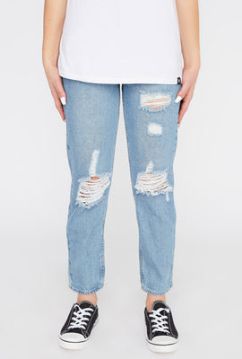 Zoo York Womens Distressed Light Wash Mom Jeans