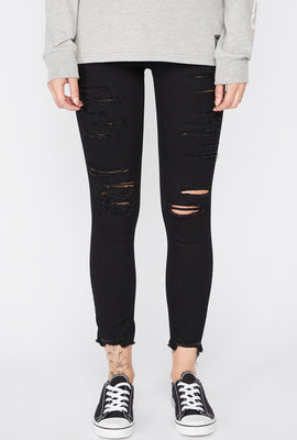 Zoo York Womens Distressed Black High Rise Jeans
