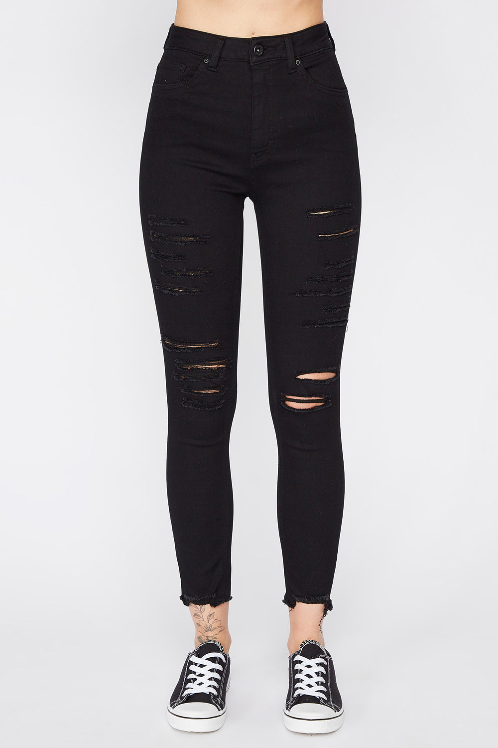 Zoo York Womens Distressed Black High Rise Jeans Black