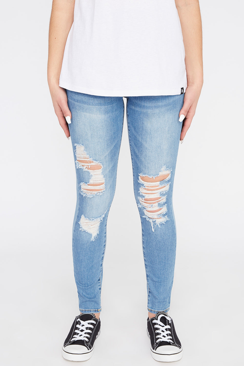 Zoo York Womens 3-Tier Curvy Jeans Medium Blue