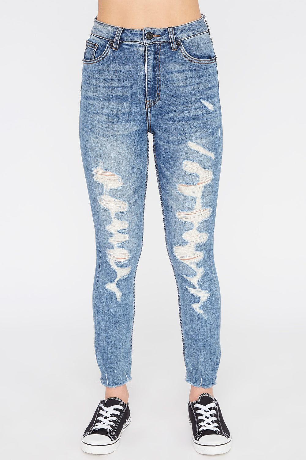 Zoo York Womens Distressed High Waisted Jeans Medium Blue