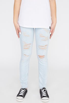 Zoo York Womens Light Wash Distressed High Rise Jeans