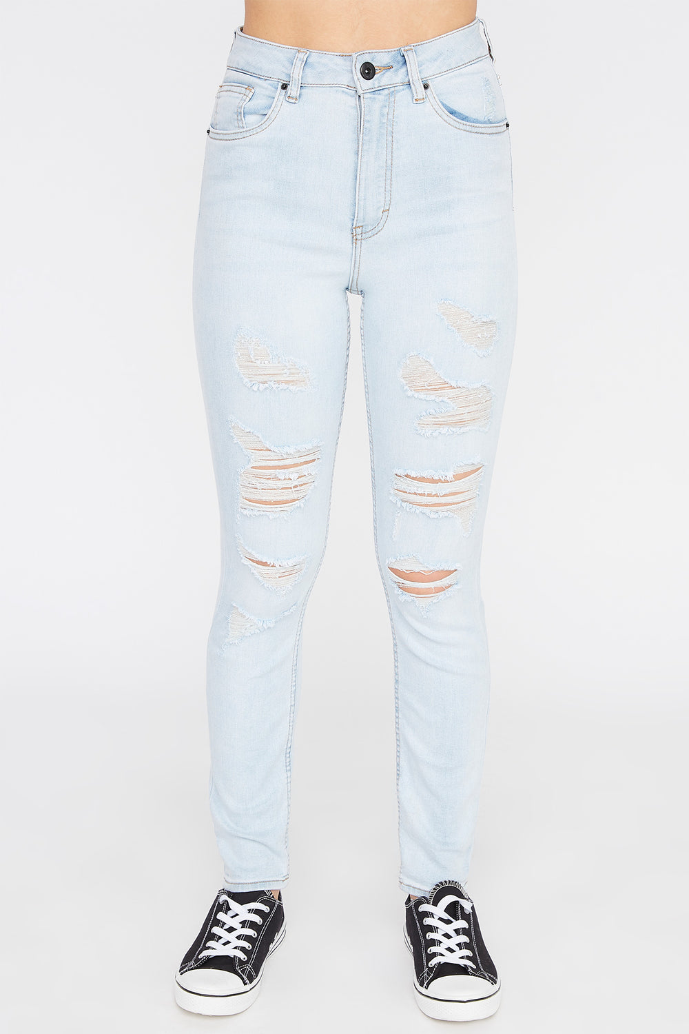 Zoo York Womens Light Wash Distressed High Rise Jeans Light Denim Blue