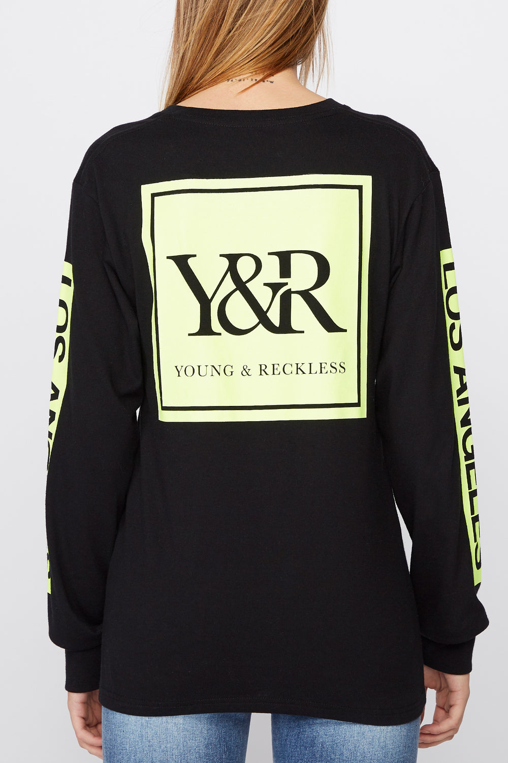 Young & Reckless Womens Neon Logo Long Sleeve Shirt Black