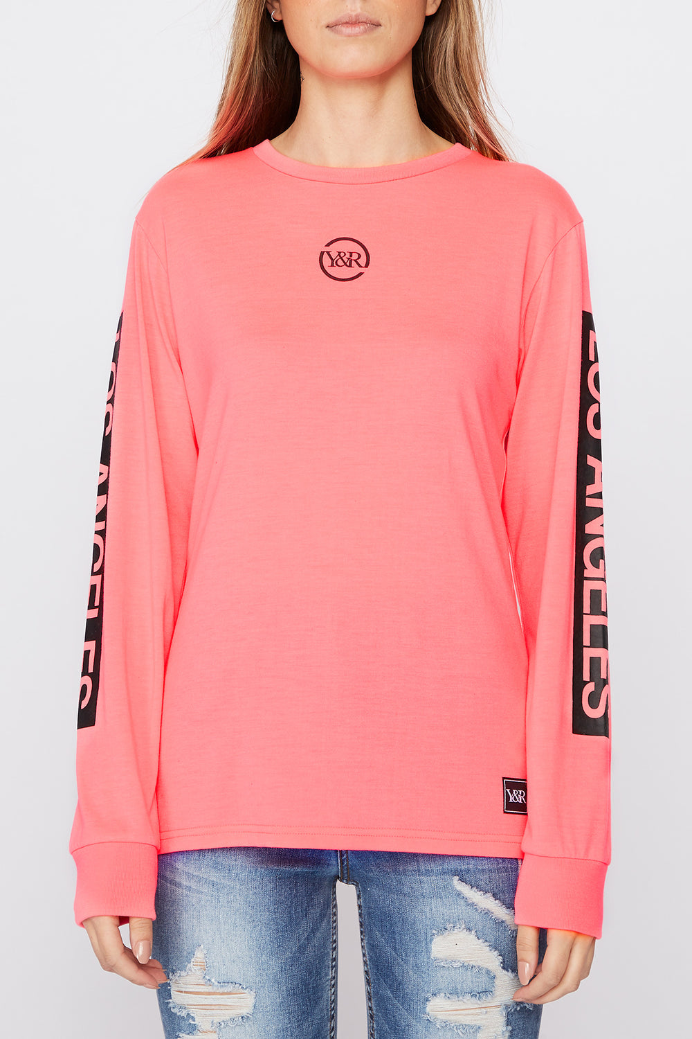 Young & Reckless Womens Neon Logo Long Sleeve Shirt Magenta