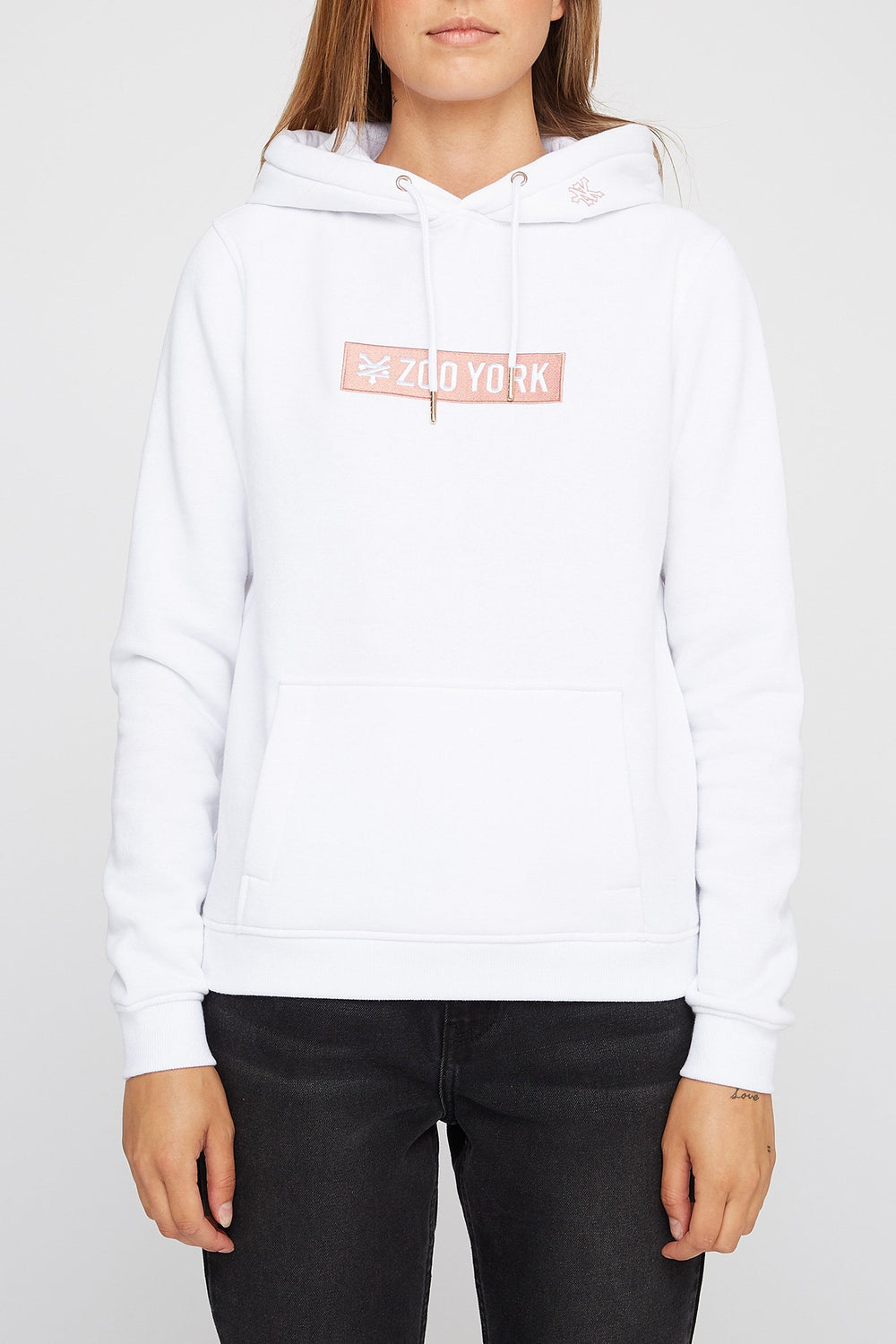 Zoo York Womens Box Logo Hoodie White