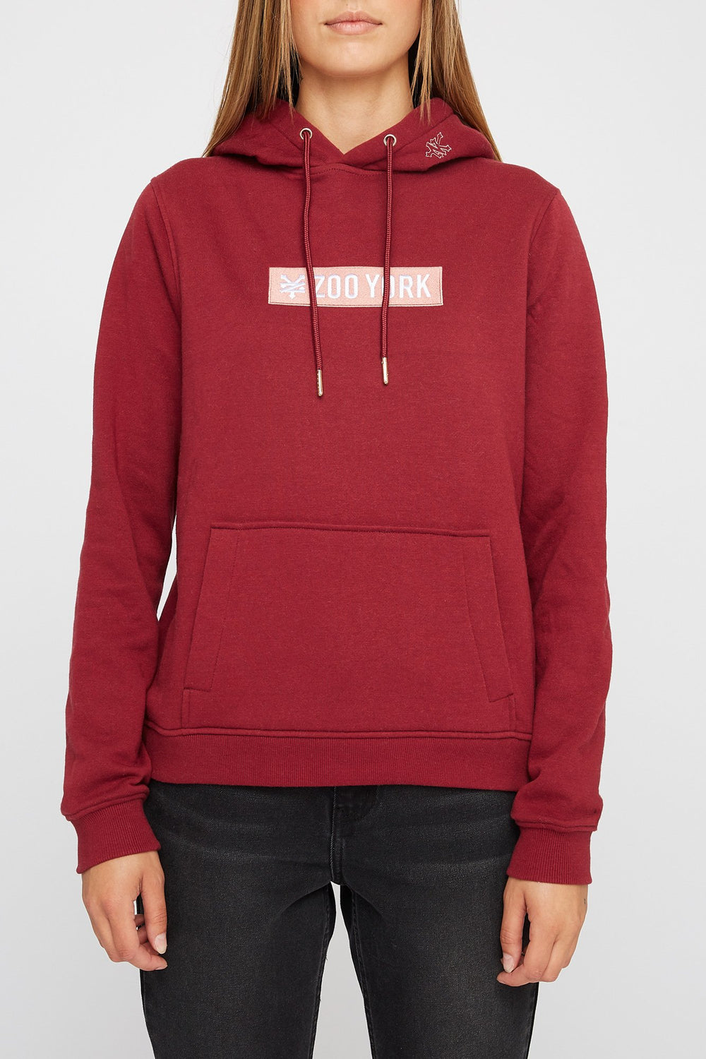 Zoo York Womens Box Logo Hoodie Burgundy
