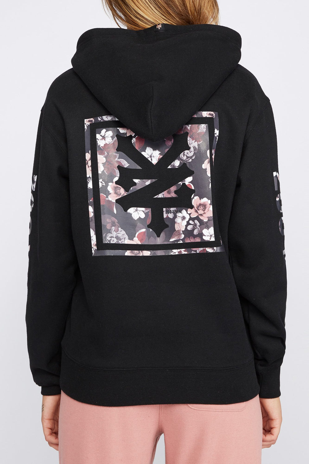 Zoo York Womens Floral Box Logo Hoodie Black