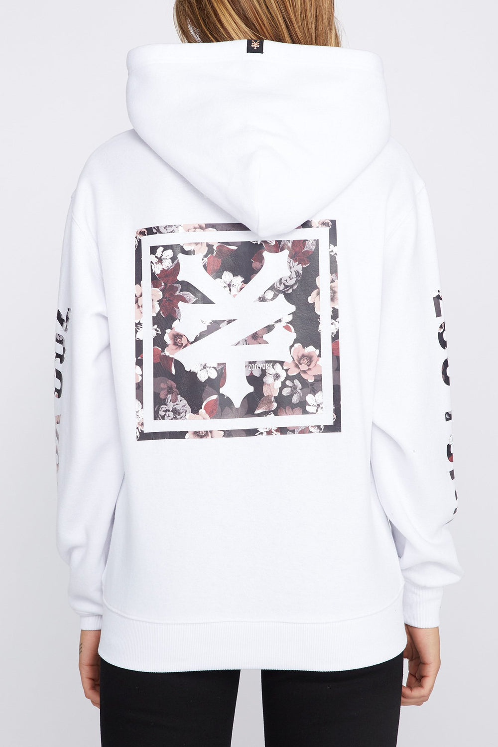 Zoo York Womens Floral Box Logo Hoodie White
