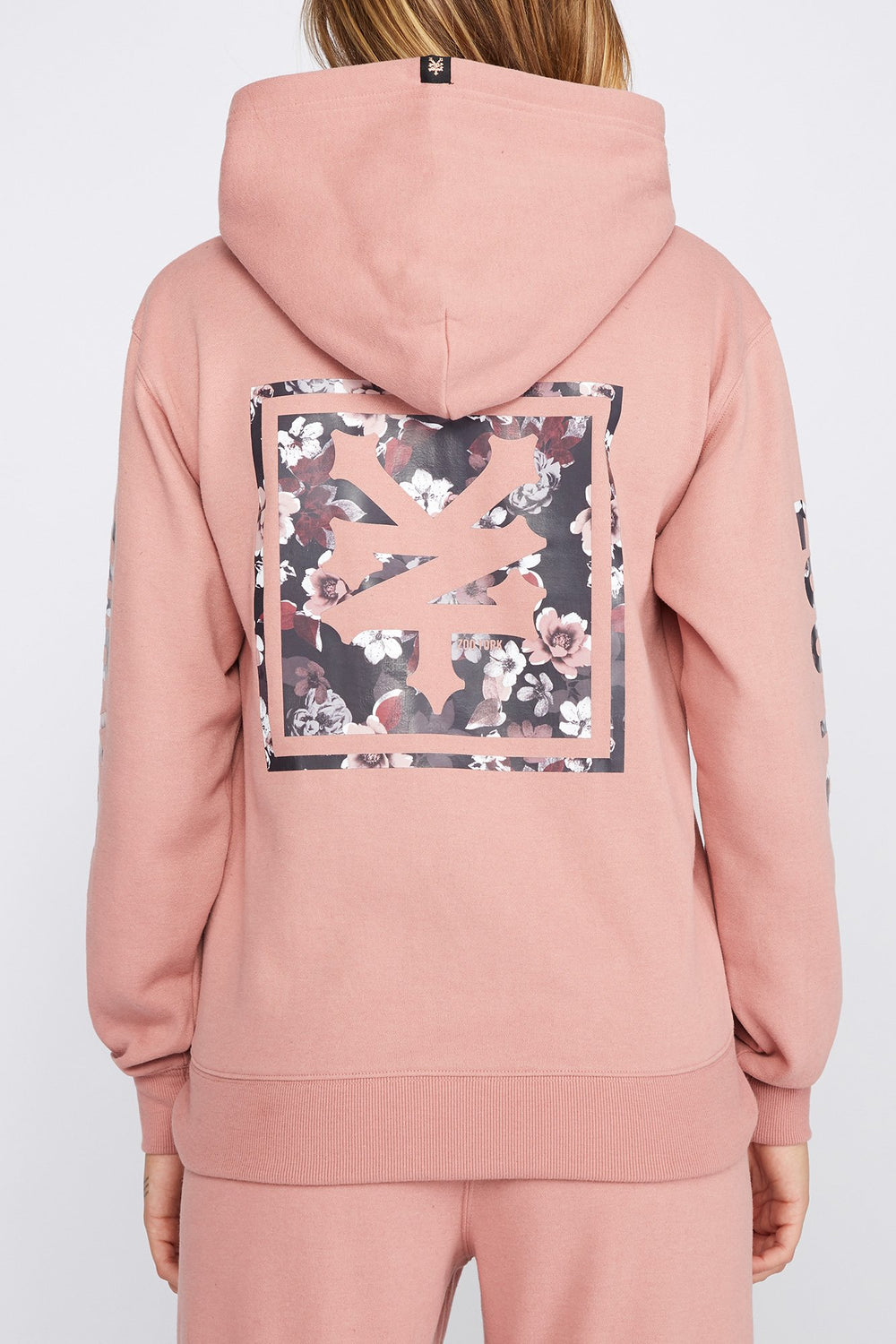 Zoo York Womens Floral Box Logo Hoodie Dusty Rose