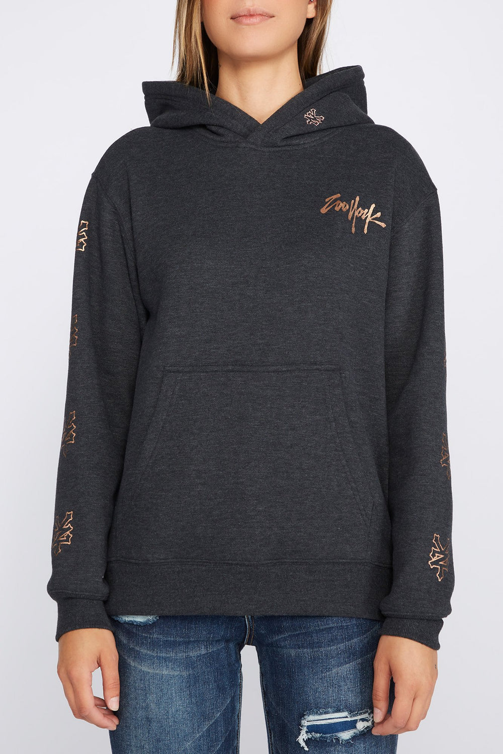 Zoo York Womens 5 NYC Boroughs Hoodie Charcoal