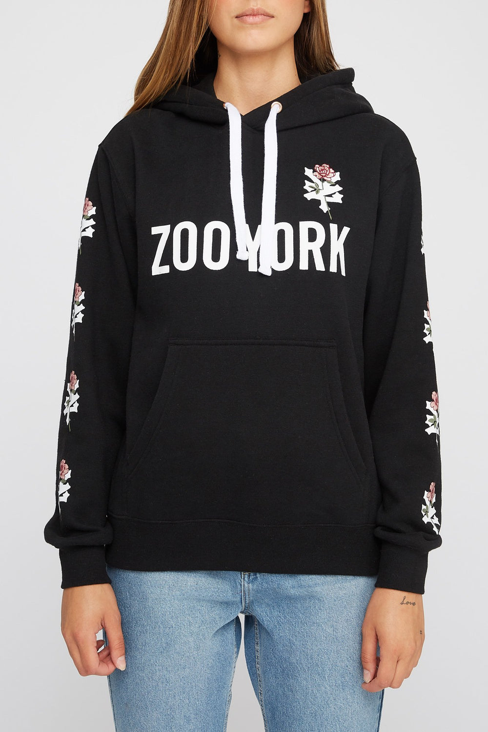 Zoo York Womens Embroidered Rose Logo Hoodie Black