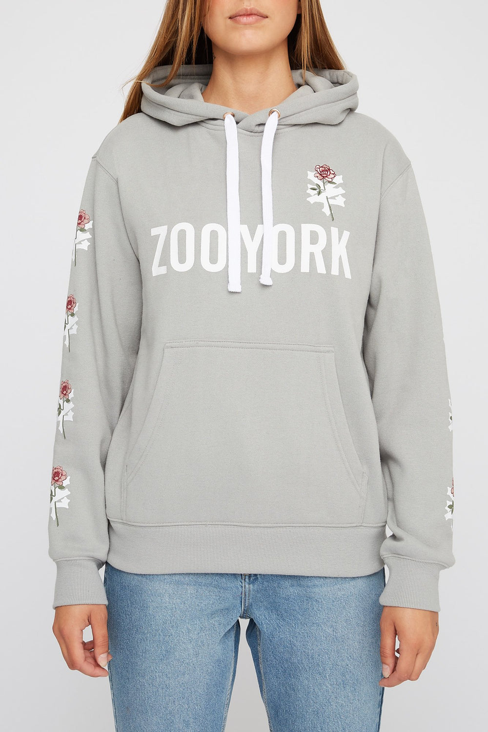 Zoo York Womens Embroidered Rose Logo Hoodie Heather Grey