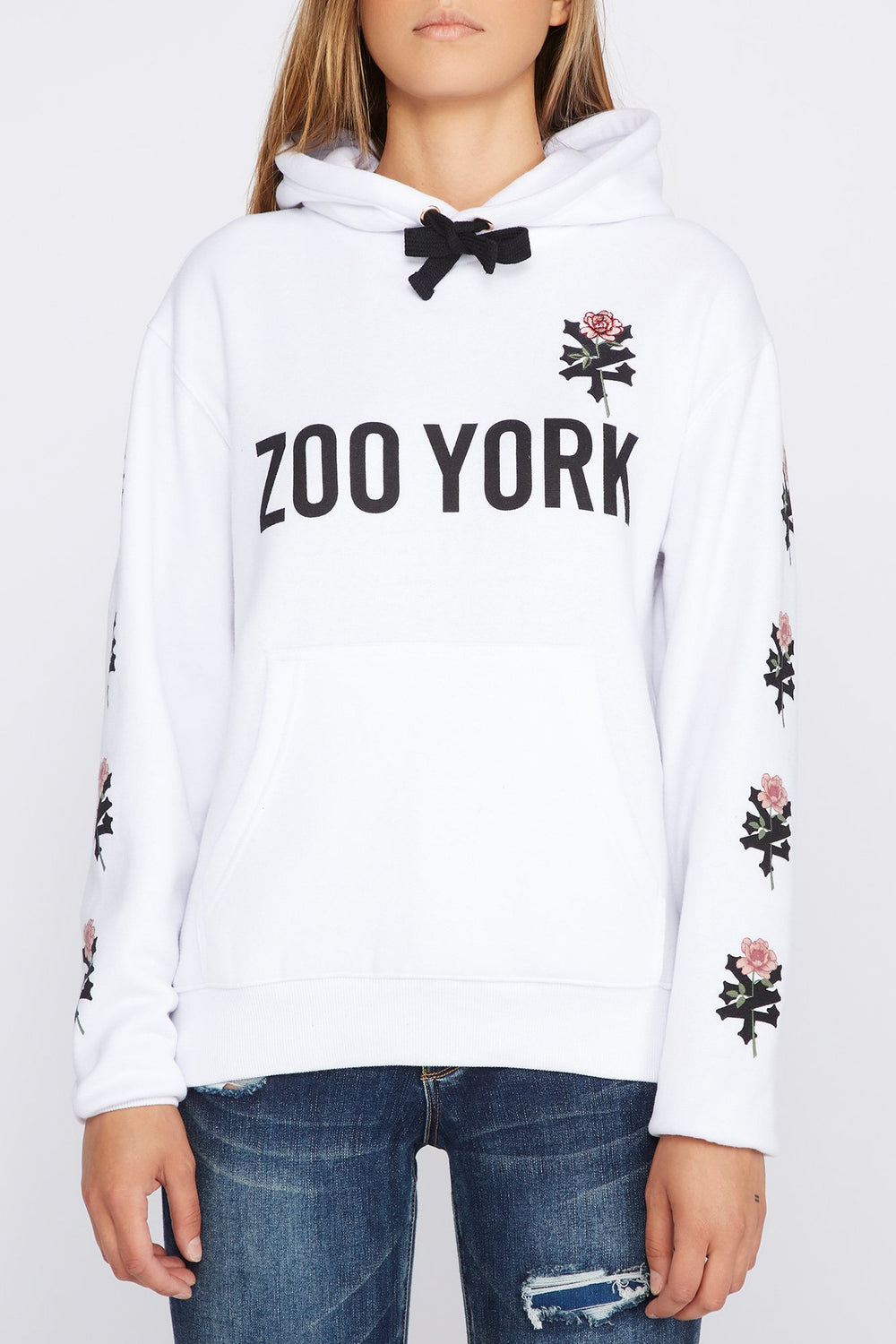 Zoo York Womens Embroidered Rose Logo Hoodie White