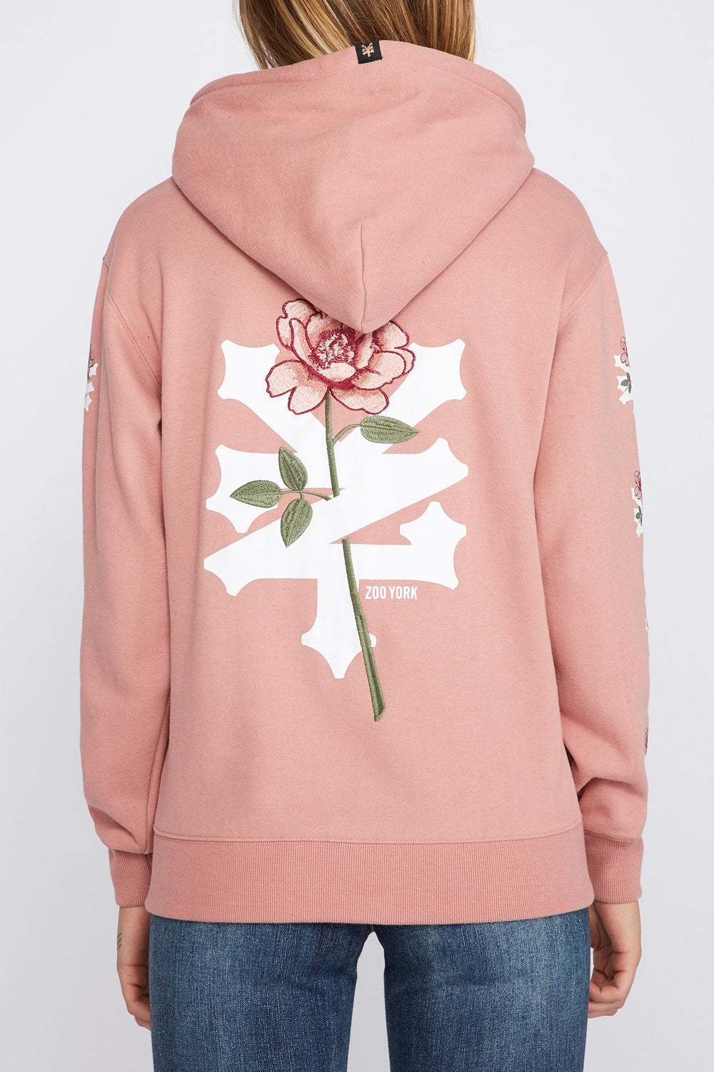 Zoo York Womens Embroidered Rose Logo Hoodie Dusty Rose