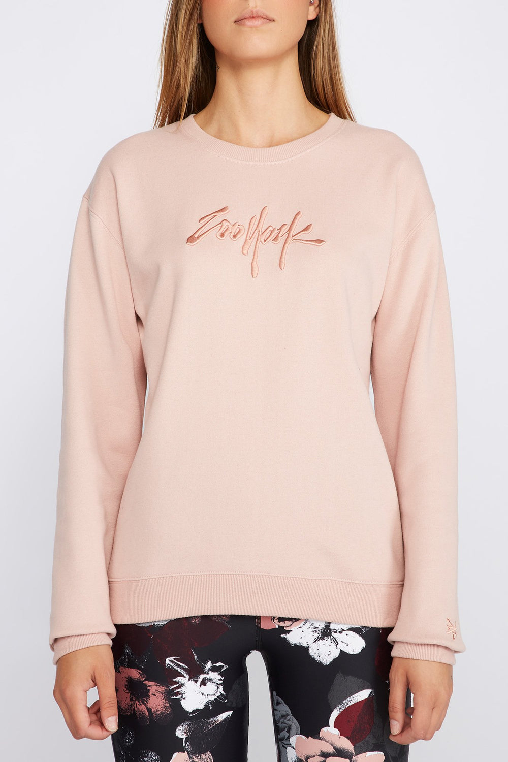 Zoo York Womens Embroidered Logo Sweatshirt Dusty Rose
