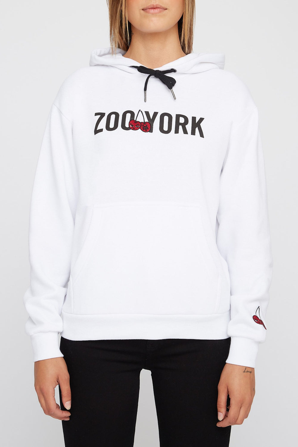 Zoo York Womens Embroidered Cherry Logo Hoodie White