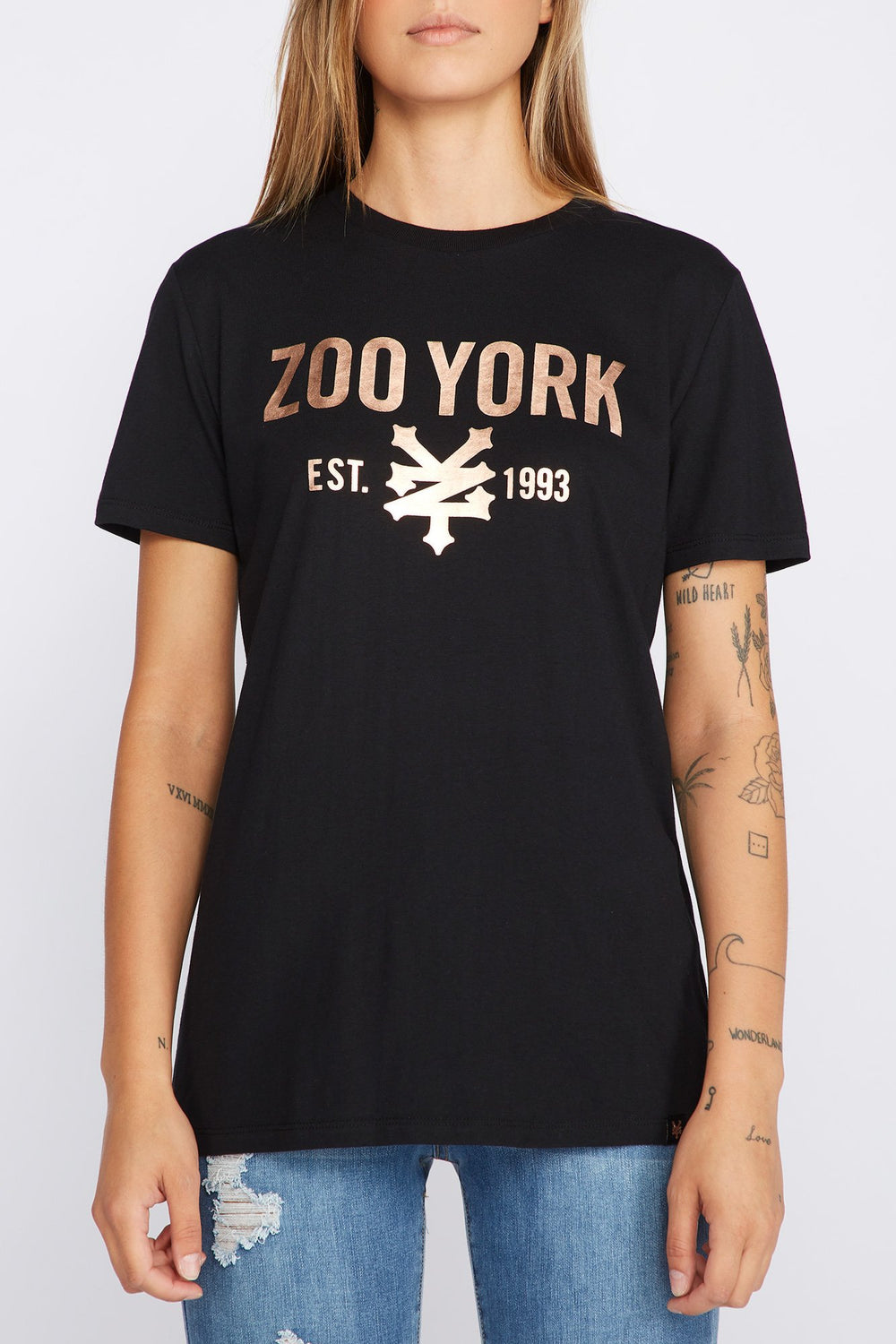 Zoo York Womens Printed Logo T-Shirt Black