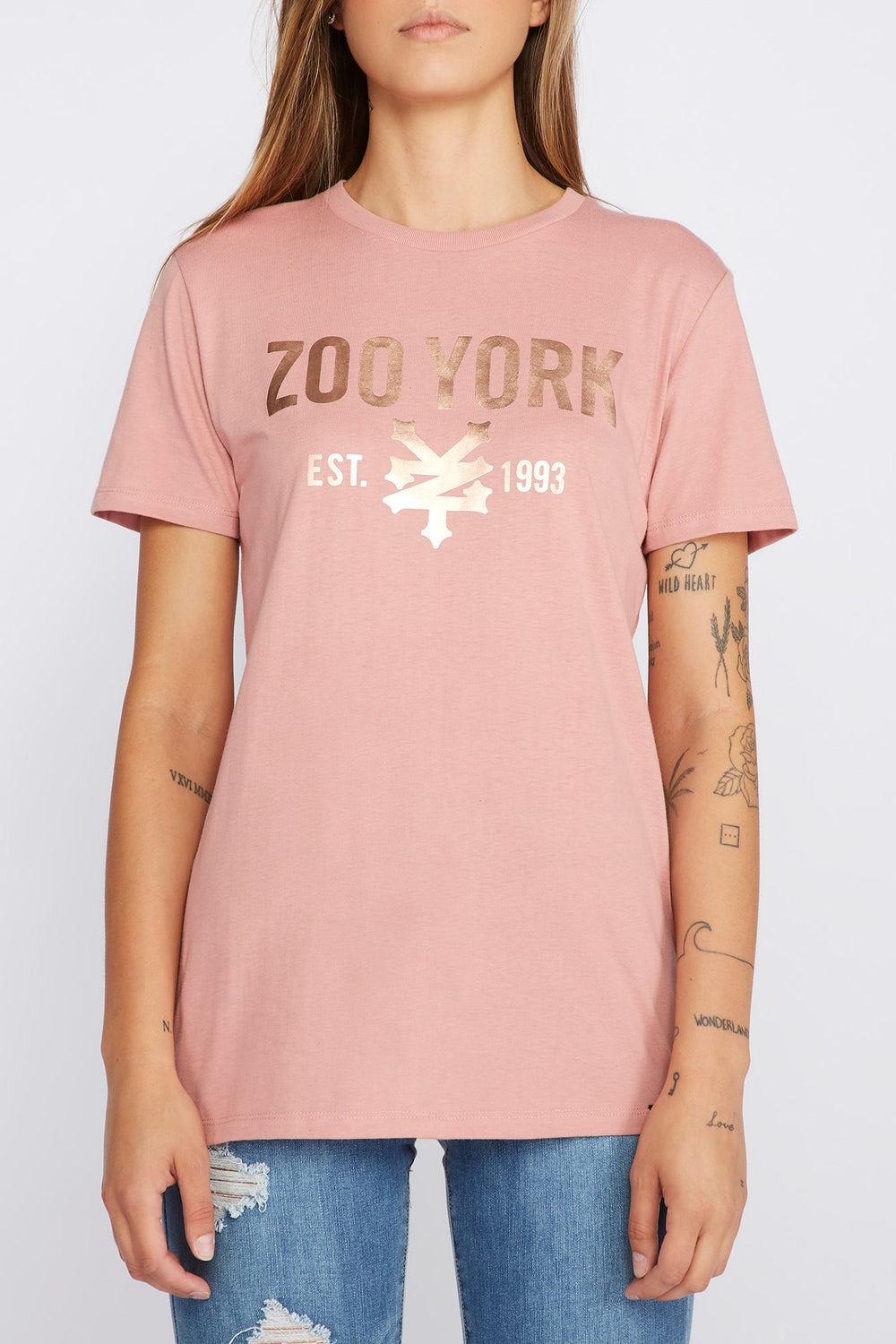 Zoo York Womens Printed Logo T-Shirt Dusty Rose