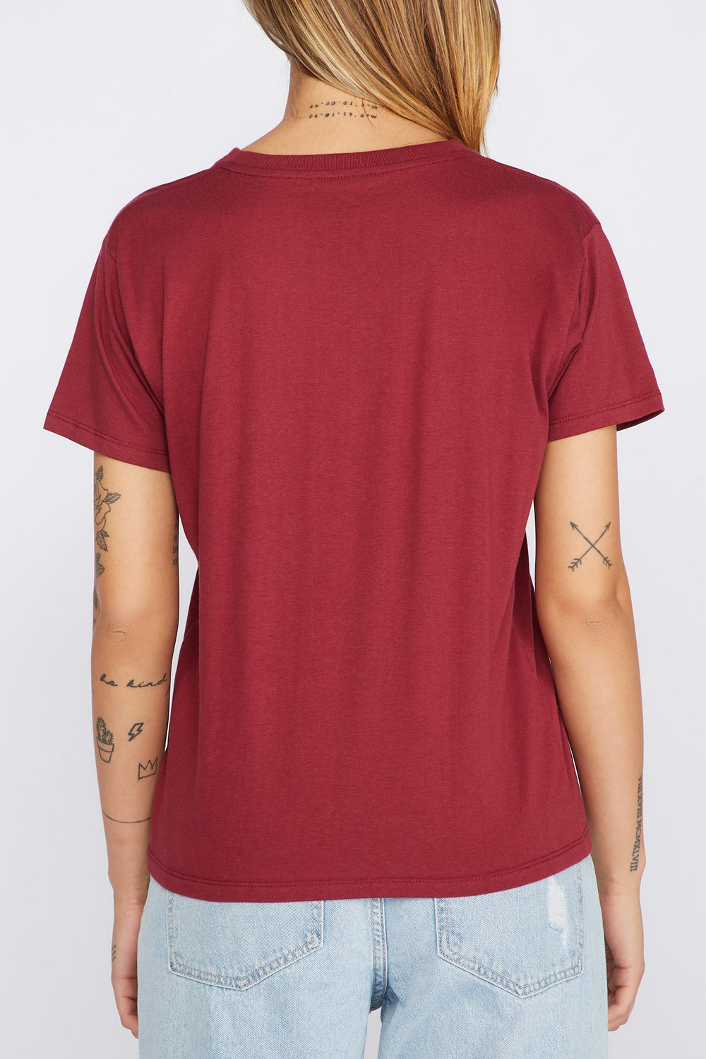 Zoo York Womens Rose Gold Logo T-Shirt Burgundy