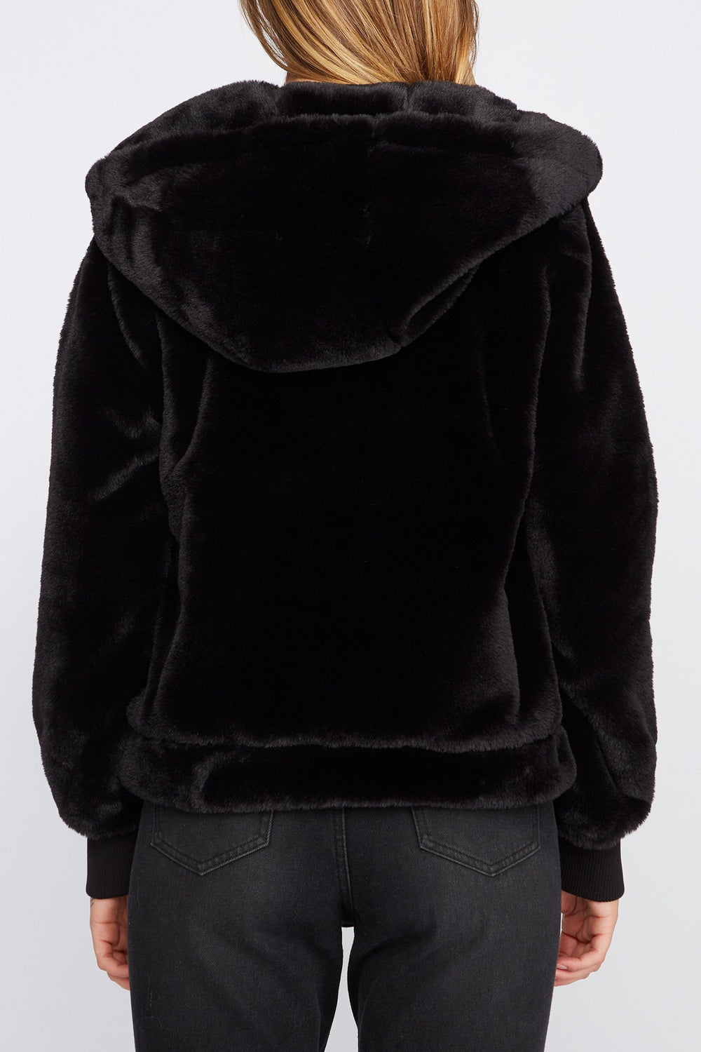 Zoo York Womens Faux-Fur Coat Black