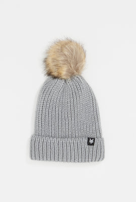 Zoo York Womens Pompom Sherpa-Lined Beanie