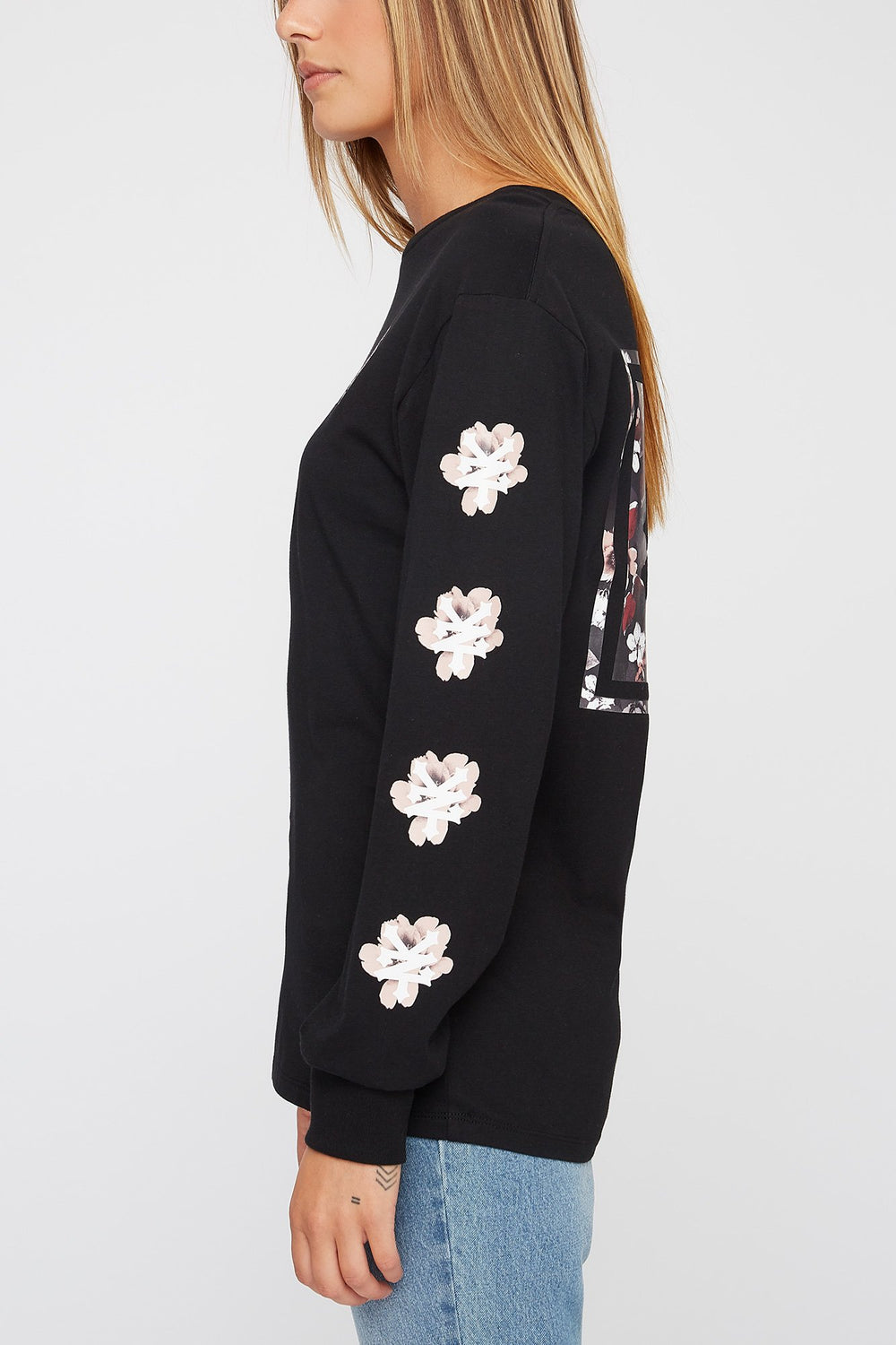 Zoo York Womens Floral Long Sleeve Shirt Black