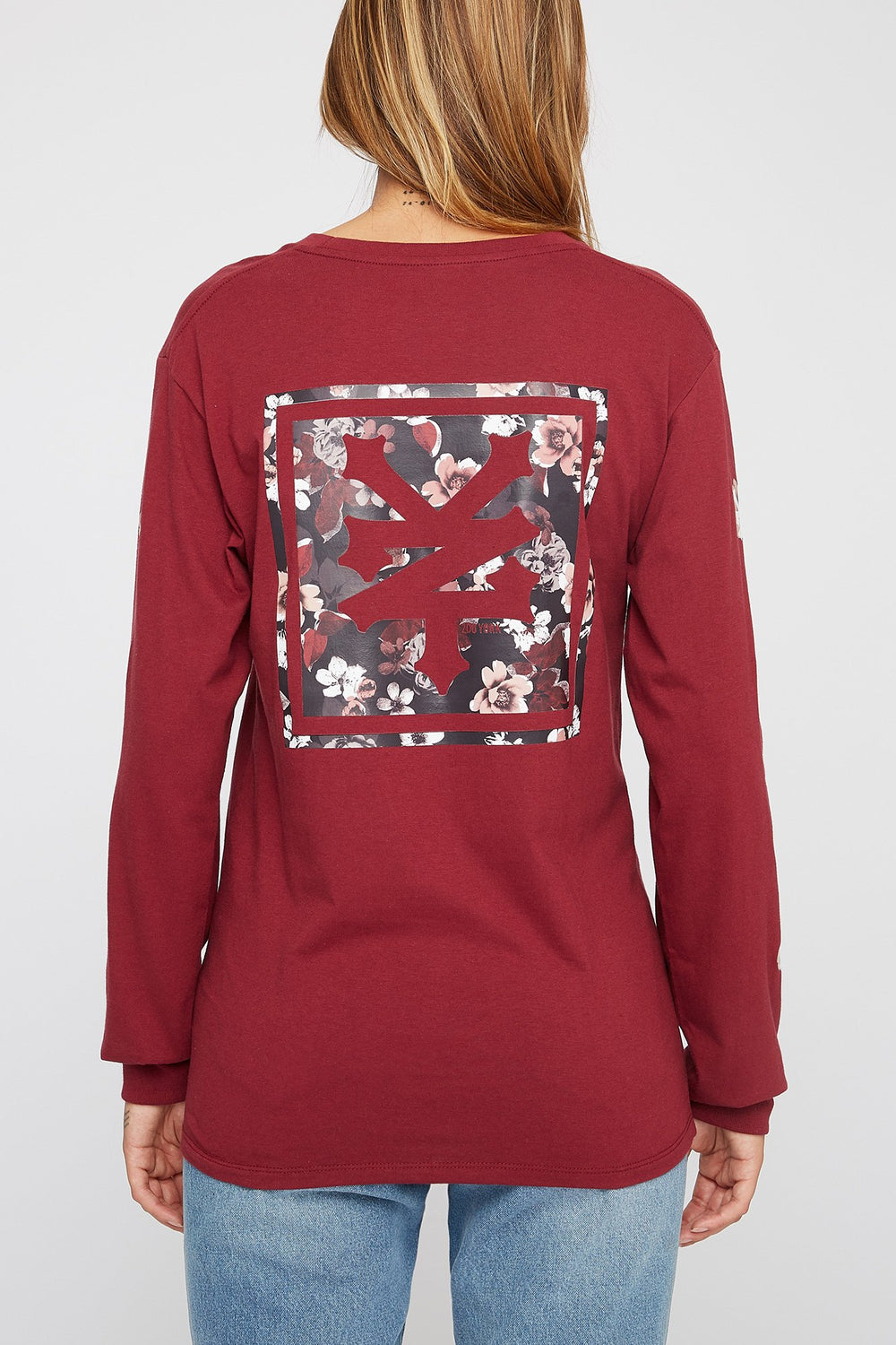 Zoo York Womens Floral Long Sleeve Shirt Burgundy