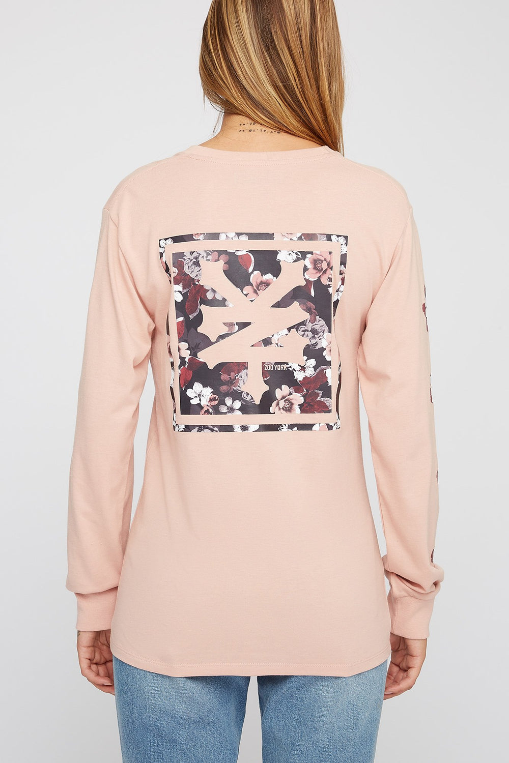 Zoo York Womens Floral Long Sleeve Shirt Dusty Rose