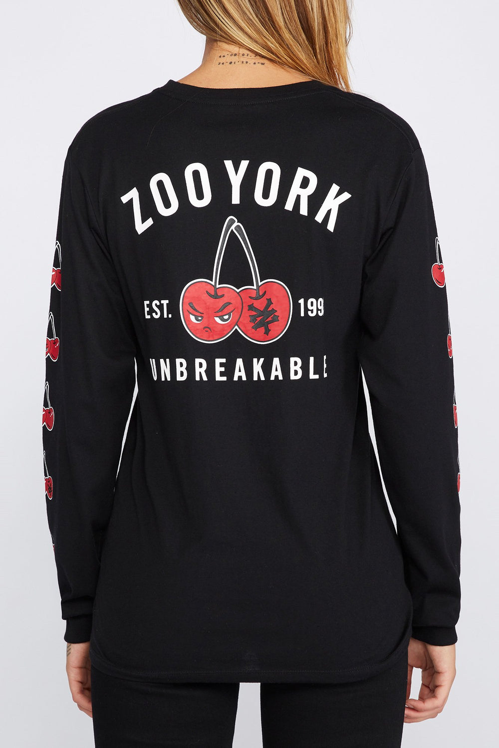 Zoo York Womens Cherry Logo Long Sleeve Shirt Black