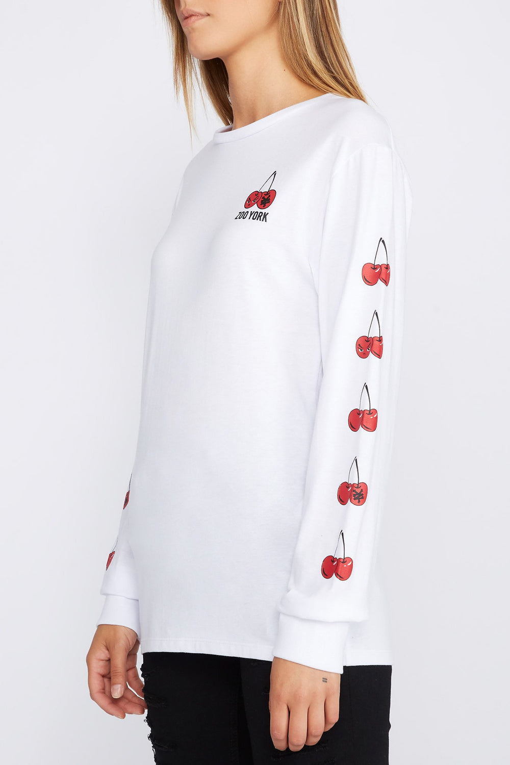 Zoo York Womens Cherry Logo Long Sleeve Shirt White