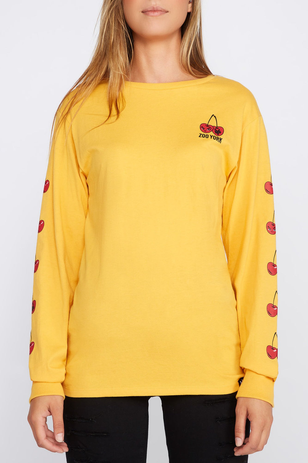 Zoo York Womens Cherry Logo Long Sleeve Shirt Yellow