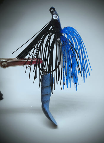 Smashed Head  Waggerbait™ swim jig - Black / Blue - The Ugly Pike Bait Co.