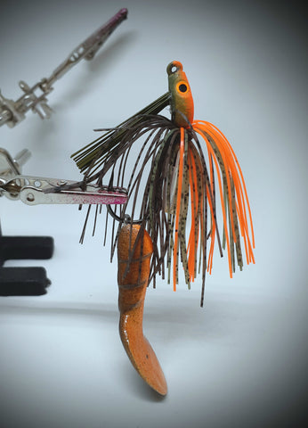 Smashed Head  Waggerbait™ swim jig - Orange Craw - The Ugly Pike Bait Co.