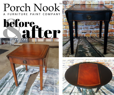 Porch Nook Before and After leather side table painted in Charcoal chalky finish paint furniture paint