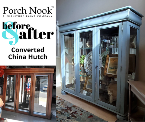 Porch Nook Before and After converted china hutch in Blue Nantucket chalky finish paint furniture paint