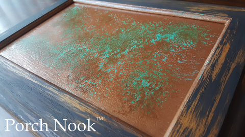 "3:1 mixture of ""The Real Teal"" and ""Butter Me Up"" to create a faux copper patina"