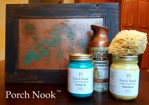 "Faux patina copper using Porch Nook's ""The Real Teal"" and ""Butter Me Up"""