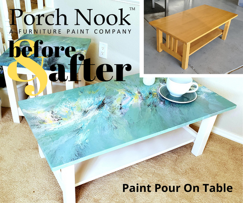 Porch Nook Before and After coffee table painted in Sea Glass chalky finish paint furniture paint