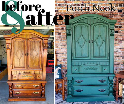 Porch Nook Before and After Painted Armoire in Green Spruce It Up