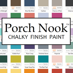 Porch Nook™ now offers the same custom made paint used exclusively by our studio! Vibrant, durable and easy to use; you will have the ability to transform your own home furnishings without priming or sanding on most surfaces. Its flat, chalking finish is formulated for superior adhesion and coverage to thoroughly cover up old varnishes, scratches, stains and blemishes, and restore most surfaces to a rich matte antique look. Recommended for furniture, cabinets, walls, glass, metal and more!